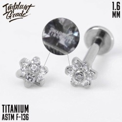 Накрутка Little Flower Swarovski Implant Grade 1.6 мм титан